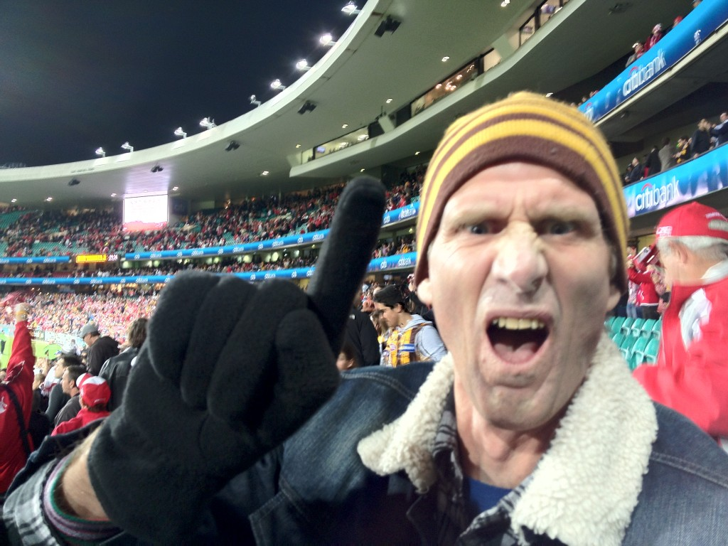 The transcendental scene at the SCG on the siren as the Hawks move to the top of the table Round 21 2012.